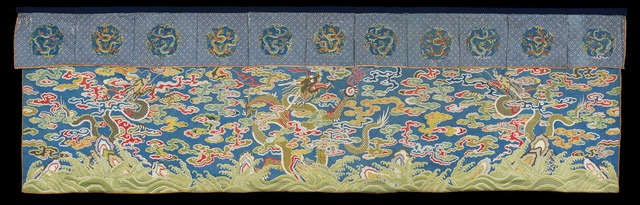 A blue silk imperial table frontal embroidered in counted stitch , Chinese, Qianglong period, 1736-1795, Measurements: 78 cms x 251 cms