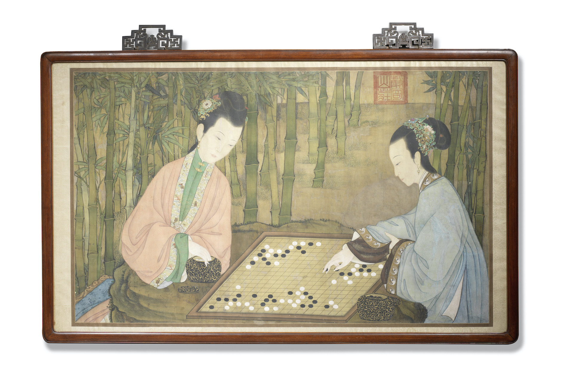 A LARGE COURT PAINTING OF LADIES PLAYING CHESS, 18th century, Including the frame: 155cm (61in) wide x 99cm (39in) high. £60,000-80,000