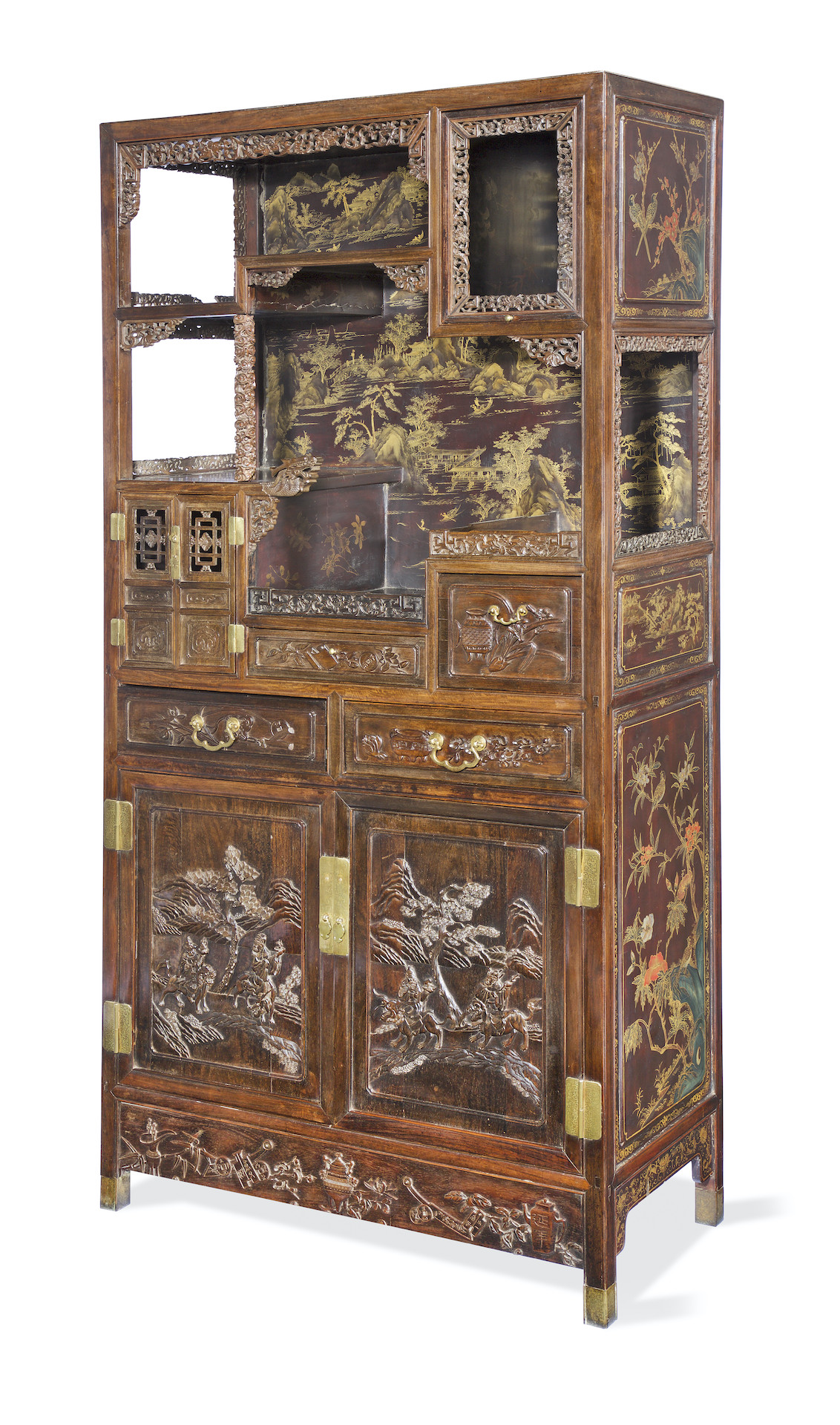 A MAGNIFICENT GILT-LACQUERED ZITAN-VENEERED DISPLAY CABINET, Qing Dynasty, 194cm (76 1/2in) high x 43cm (17in) deep x 94cm (37in) wide. £50,000-80,000