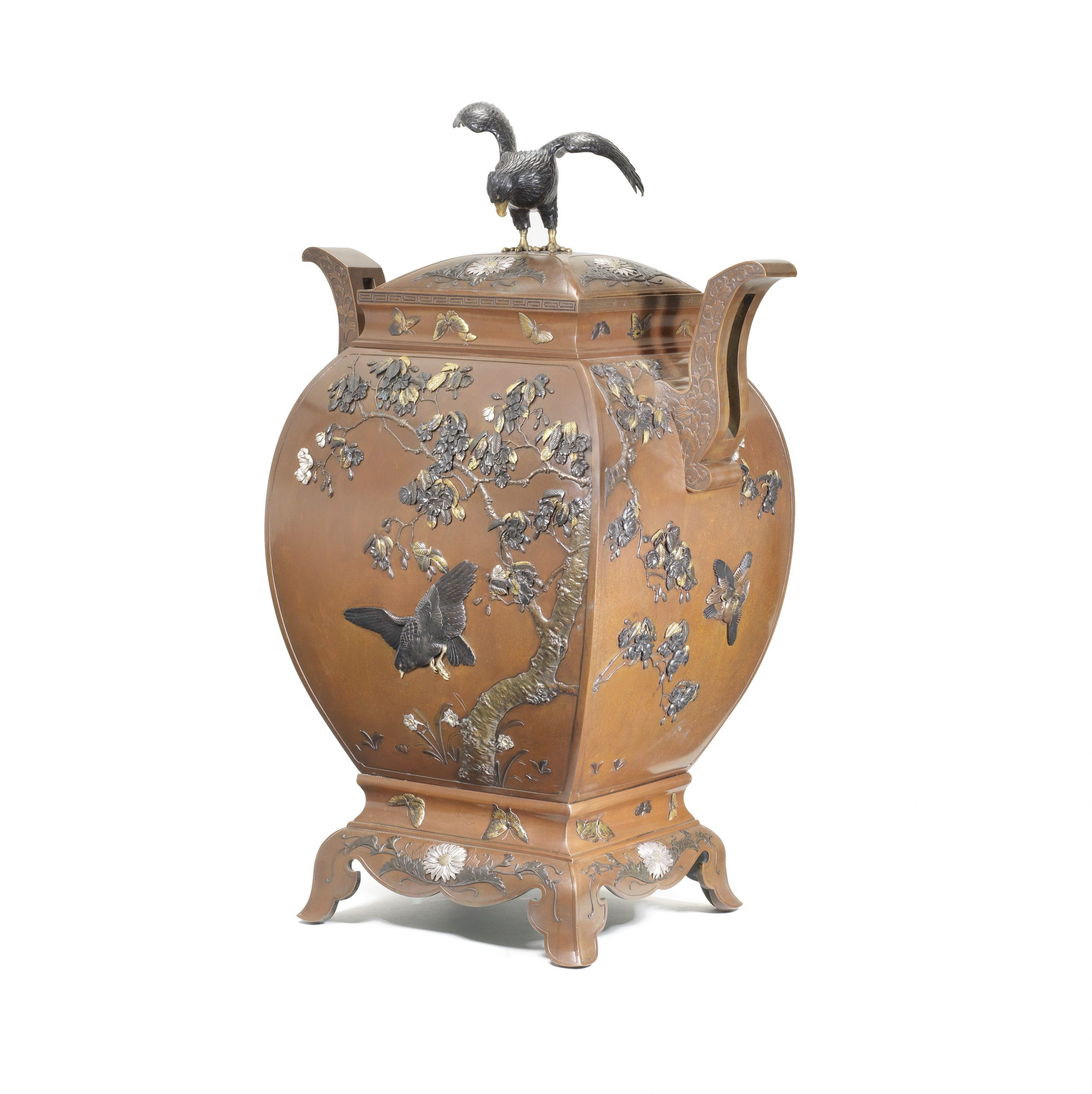 An exceptional, large and finely inlaid bronze futamono (lidded ornamental vessel), Attributed to Kiryu Kosho Gaisha, Meiji Era, 1880-1890's - Snow, Sex and Spectacle