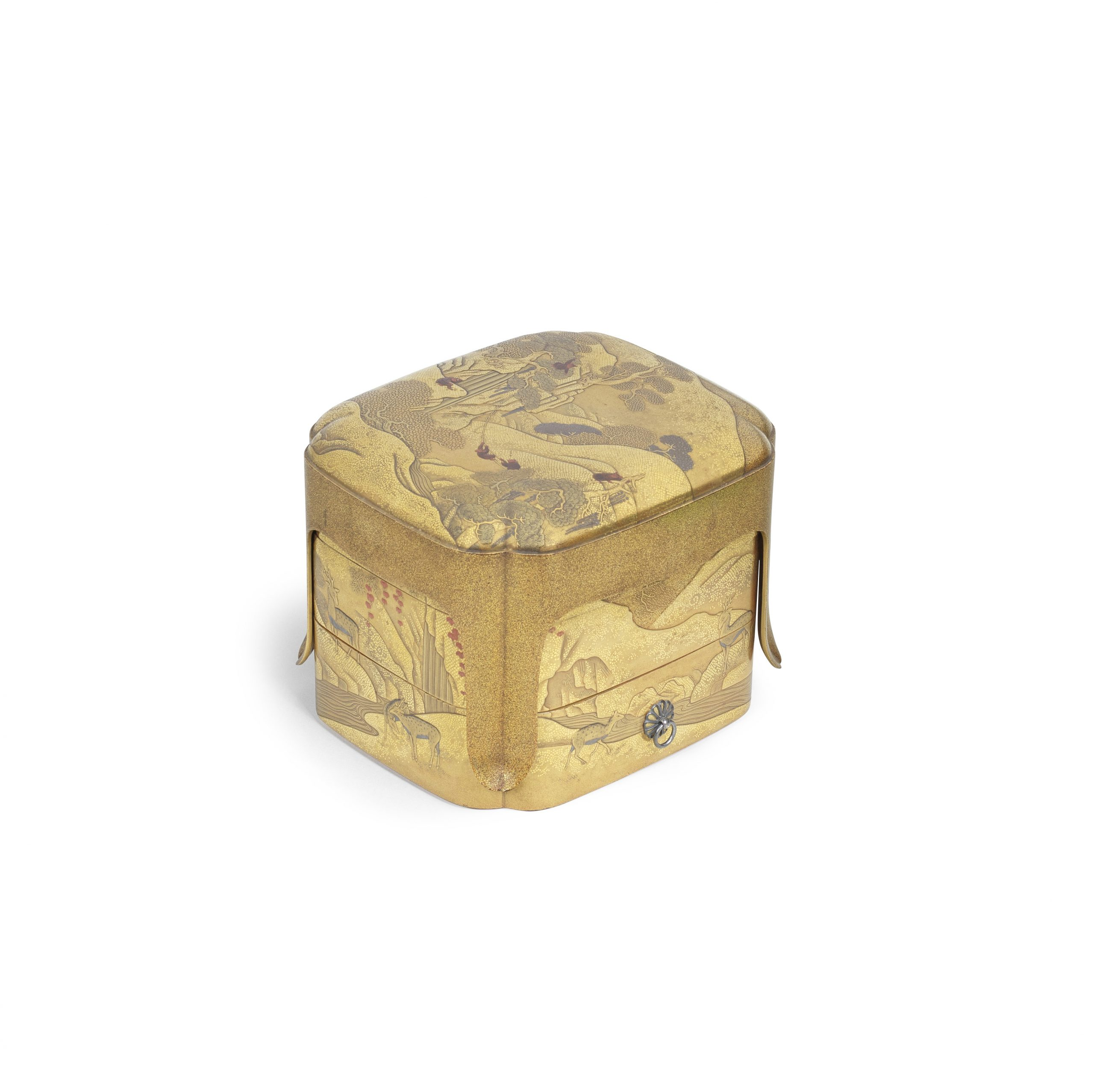 A gold-lacquer three-tiered stacking set of lobed boxes nestled within a tall four-legged stand-cum-cover, Meiji era (1868-1912), late 19th/early 20th century - Snow, Sex and Spectacle