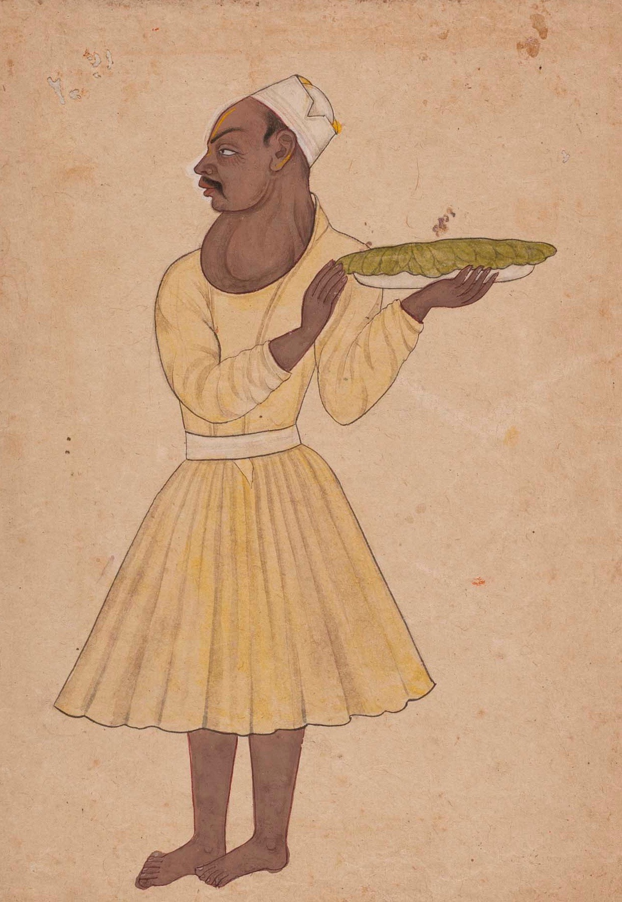 An attendant with a goitre, Kangra or Guler, India,  Opaque pigment on paper,  c. 1780