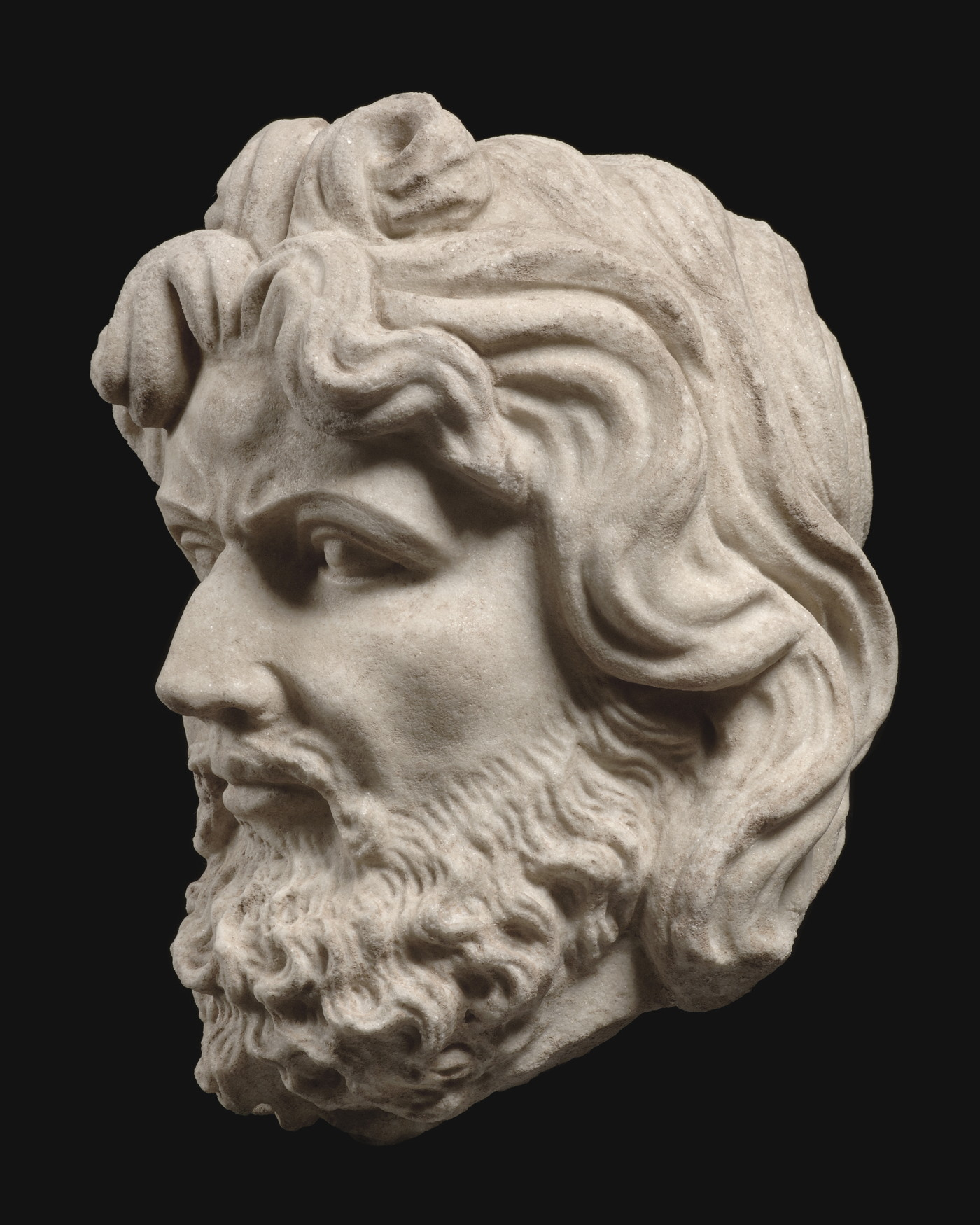 Head of a bearded man, Marble, Central Asia, 2nd/3rd century, height 27cm
