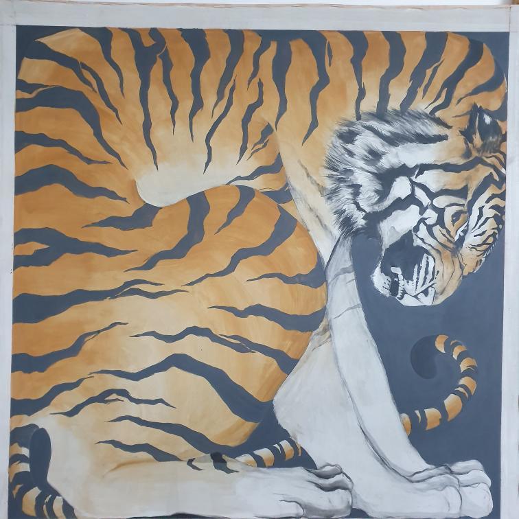Zimbiri (b. 1991) Boxed Twin 1, 2020 Saa-tshen on Rhay-shing (Earth paint on canvas) Signed 76.5 x 76 cm 30 1/8 x 29 7/8 in