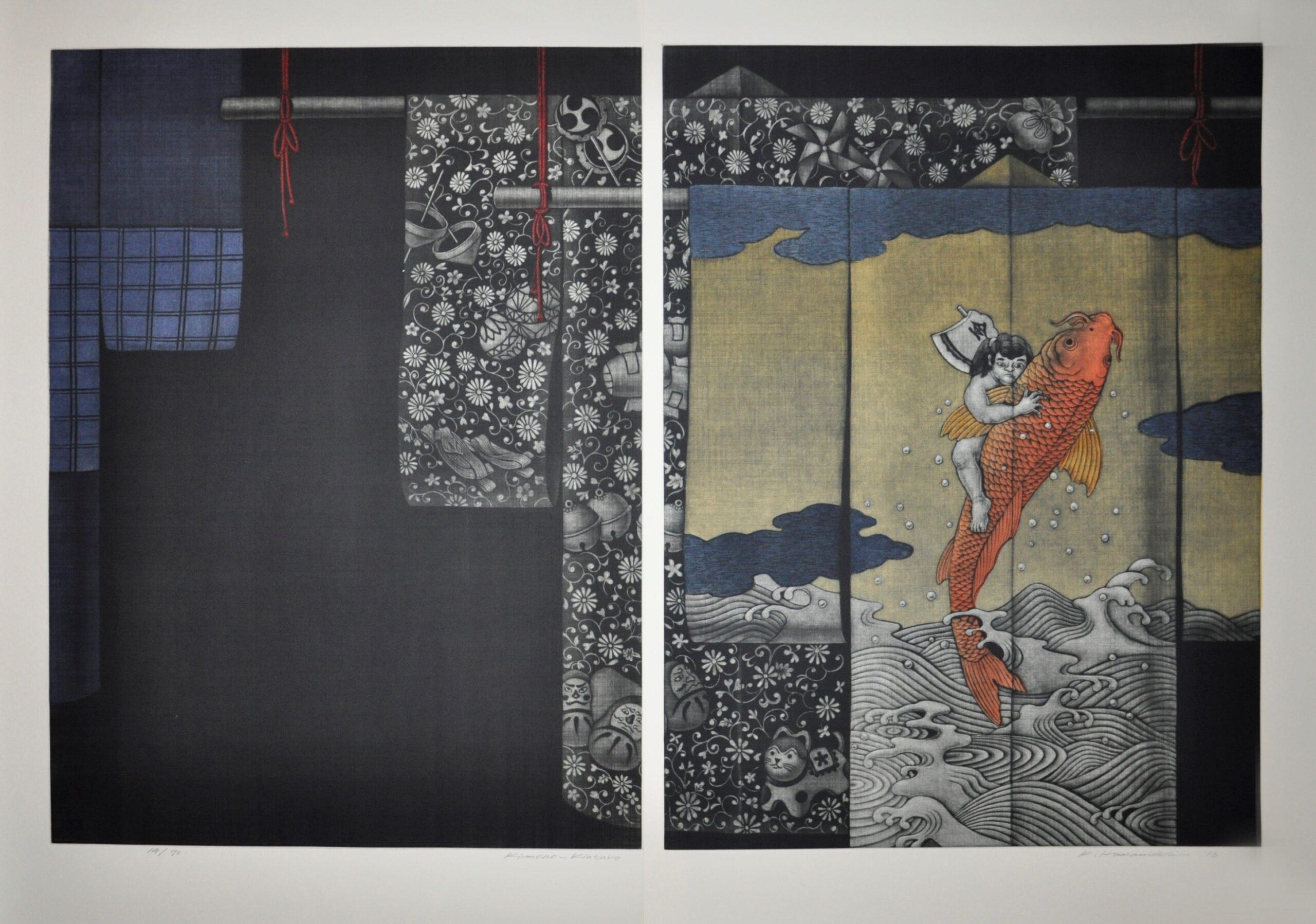 "Katsunori Hamanishi - ""Kimono - Kintaro"" (Diptych) - 2013, Mezzotint, Ed of 70, Sheet size 75 x 102 cm"