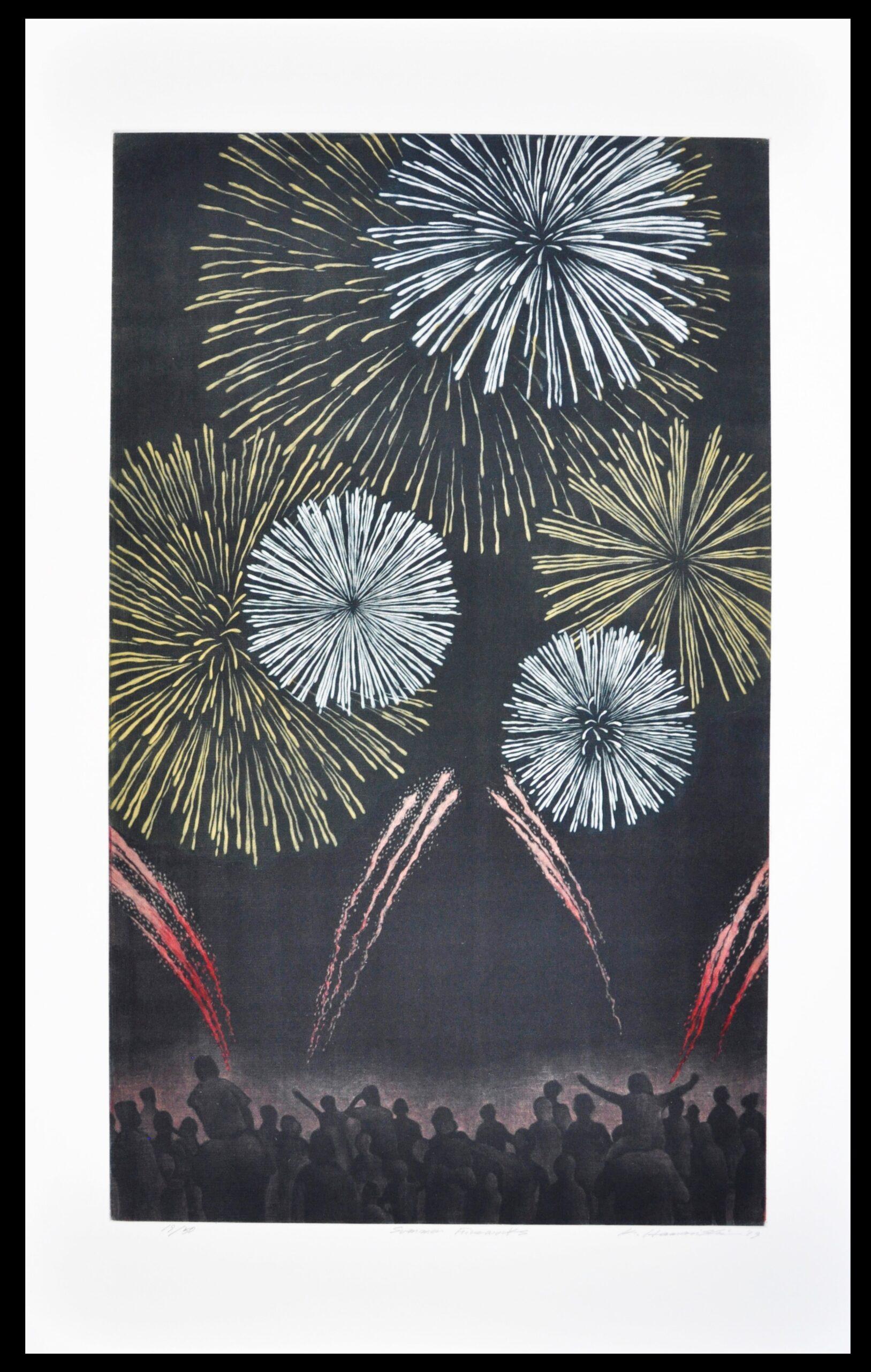 """Katsunori Hamanishi - """"Summer Fireworks"""" 2019 Mezzotint, 60 cm x 35 cm image"""