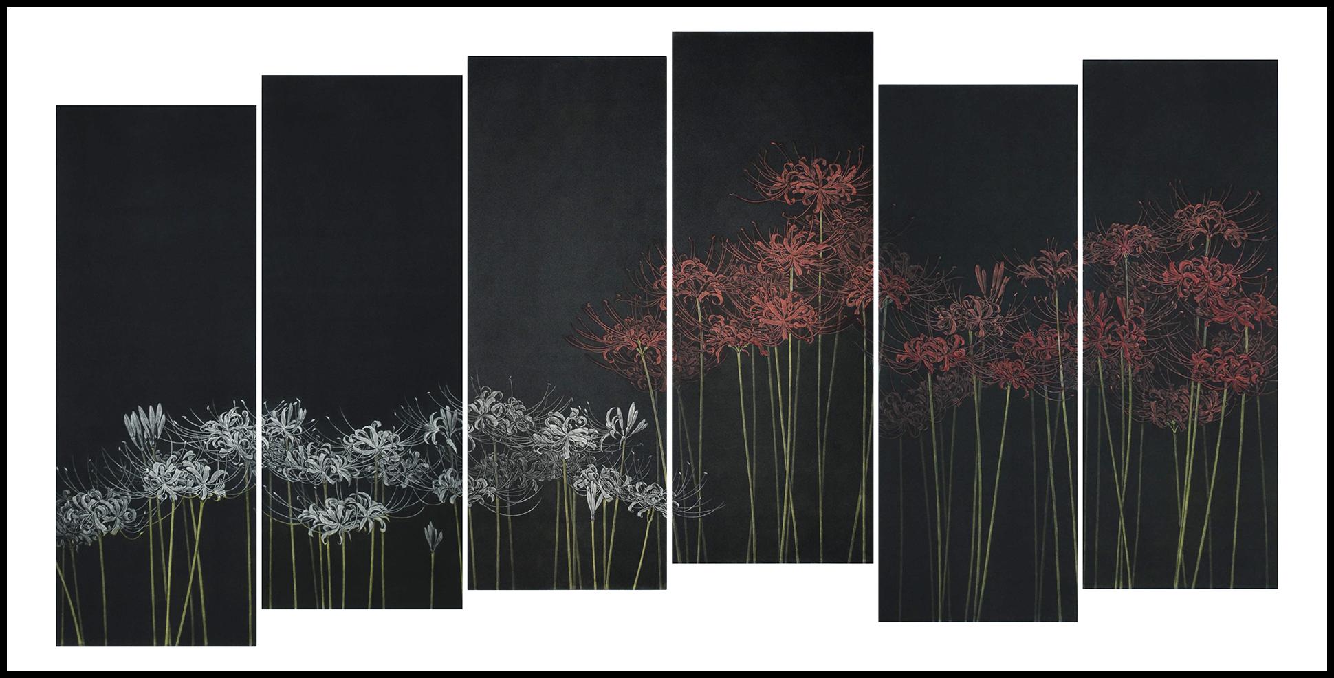 "Katsunori Hamanishi - ""Manjyusyage – Flowers of Heaven (triptych)"" 2020 Mezzotint 77 x 149 cm paper"