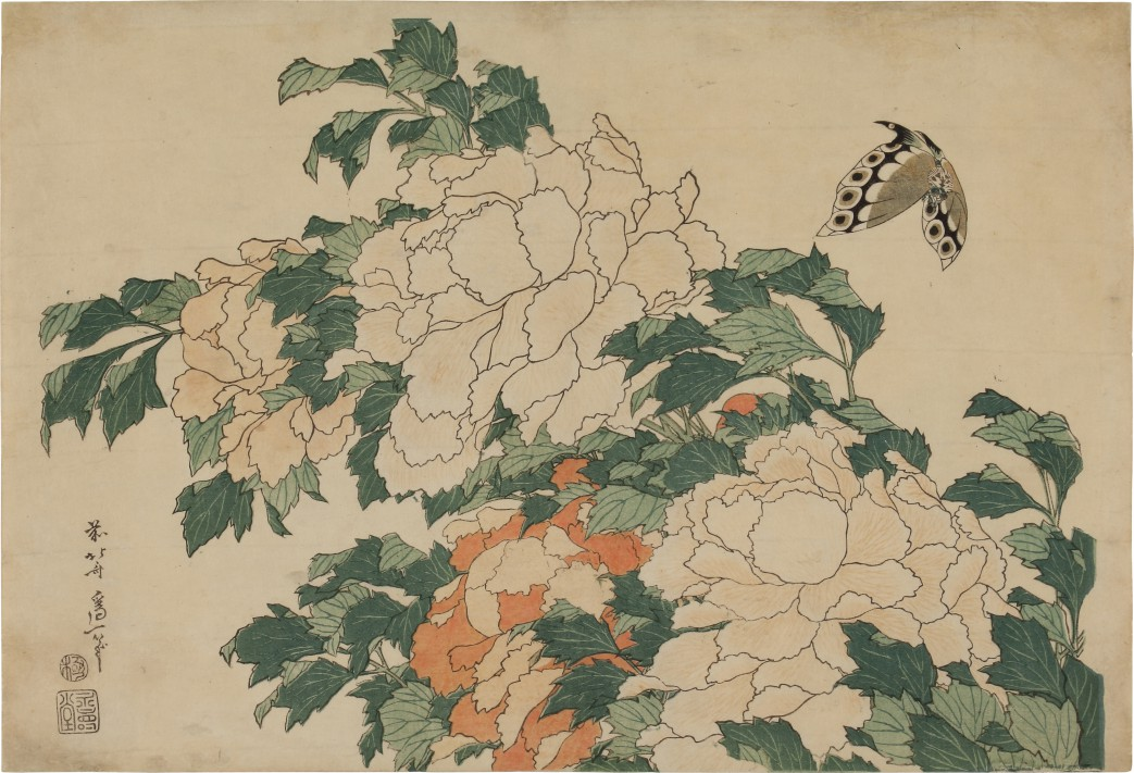 Katsushika Hokusai (1760-1849)   Peony and Butterfly, Edo period, 19th century