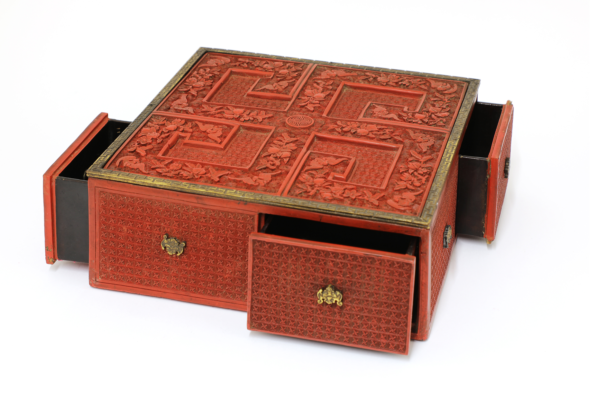 A rare Chinese carved cinnabar lacquer treasure box,