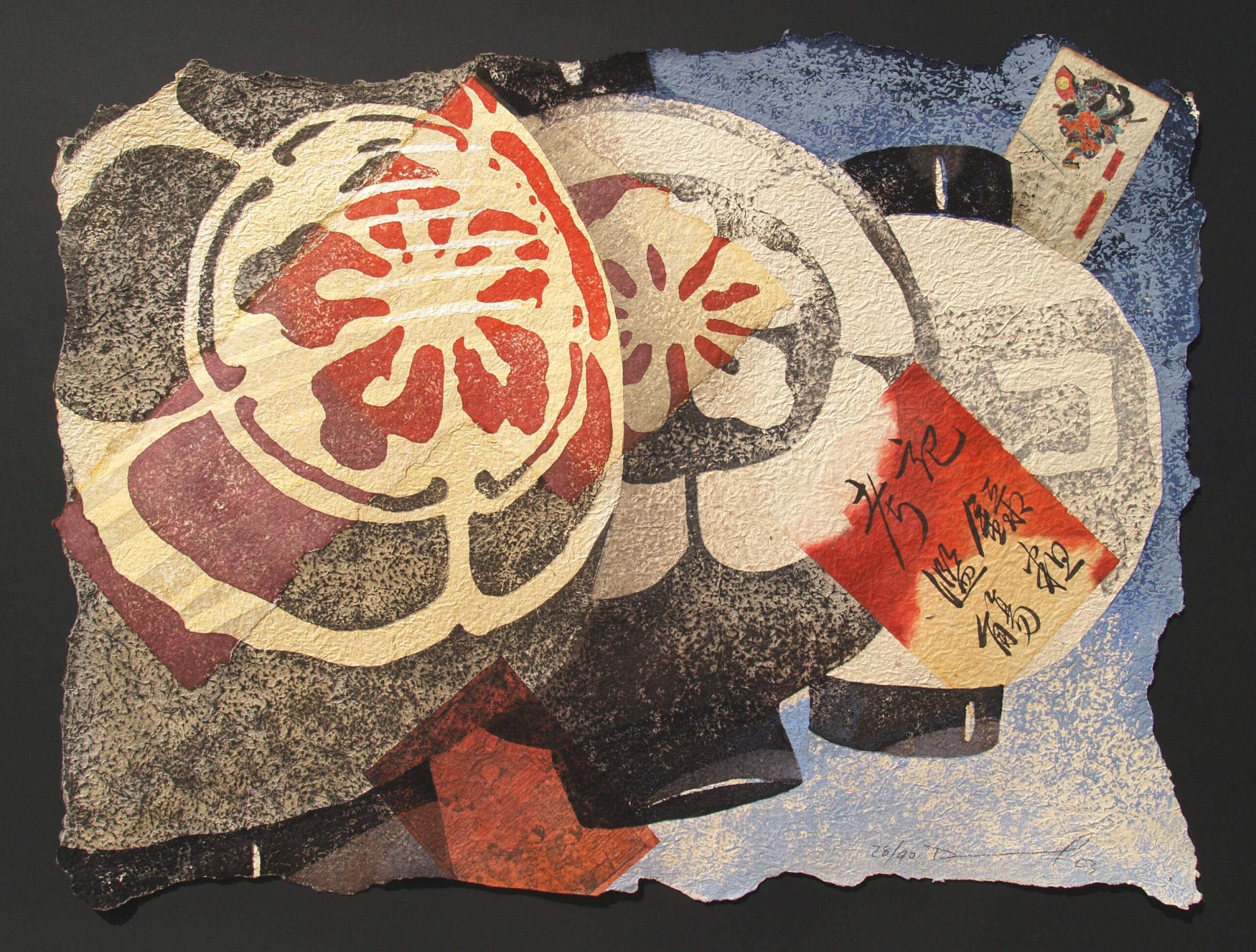 """Daniel Kelly - """"Luna"""" - 2003, Woodblock on Nepalese paper with chine colle of Tahi mulberry paper and Edo-period hand-written pages, Edo Ed of 90, Framed size 104 x 130 cm"""