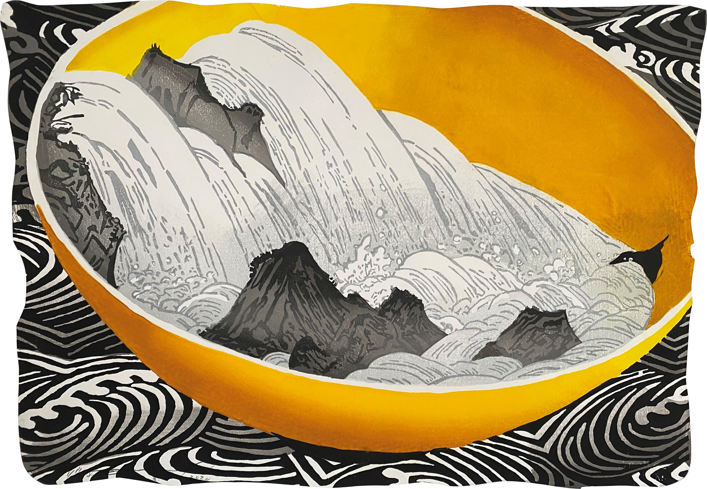 """Daniel Kelly - """"Whirlpool"""" - 2020, Woodblock and hand-colouring on Arches watercolour paper, Ed of 17, Sheet size 53 x 75 cm"""