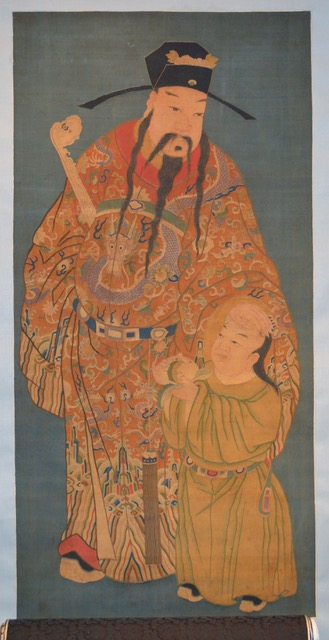 A silk kesi weaving of the Ming Minister of Official Personnel Affairs, Chinese, Kangxi period, 1662-1722 Overall measurements: Length of scroll: 97 1/2 inches (246 cm) Width of scroll: 40 1/2 inches (102 cm) Kesi weaving itself: Length: 60 inches (152 cm) Width: 29 inches (75 cm)