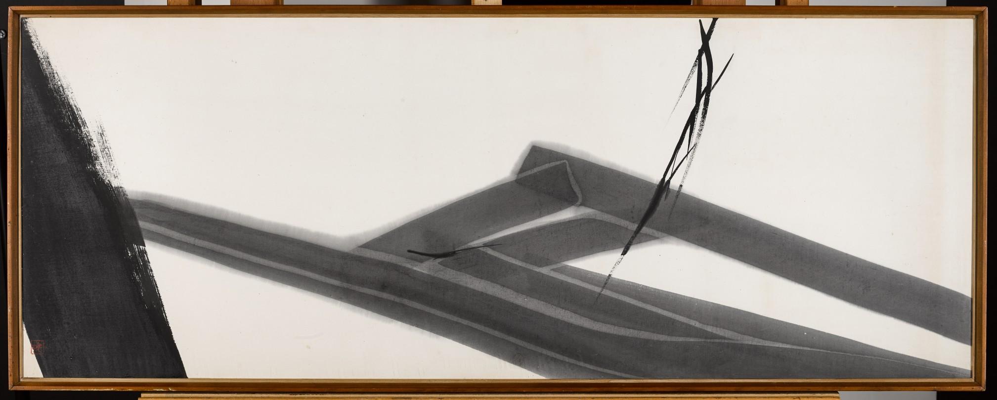 Toko Shinoda (b.1913), Genji, 1967, Showa Period, sumi ink on canvas, signed Toko Shinoda 1967, 139 x 55 cm (framed)
