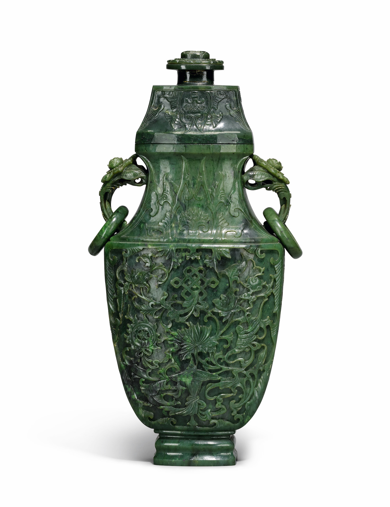 A large spinach jade vase and cover. Qing Dynasty, Qianlong period