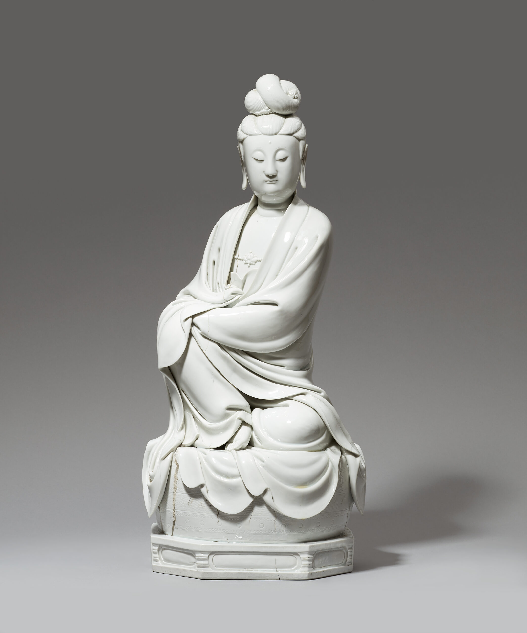 A VERY LARGE BLANC DE CHINE FIGURE OF GUANYIN