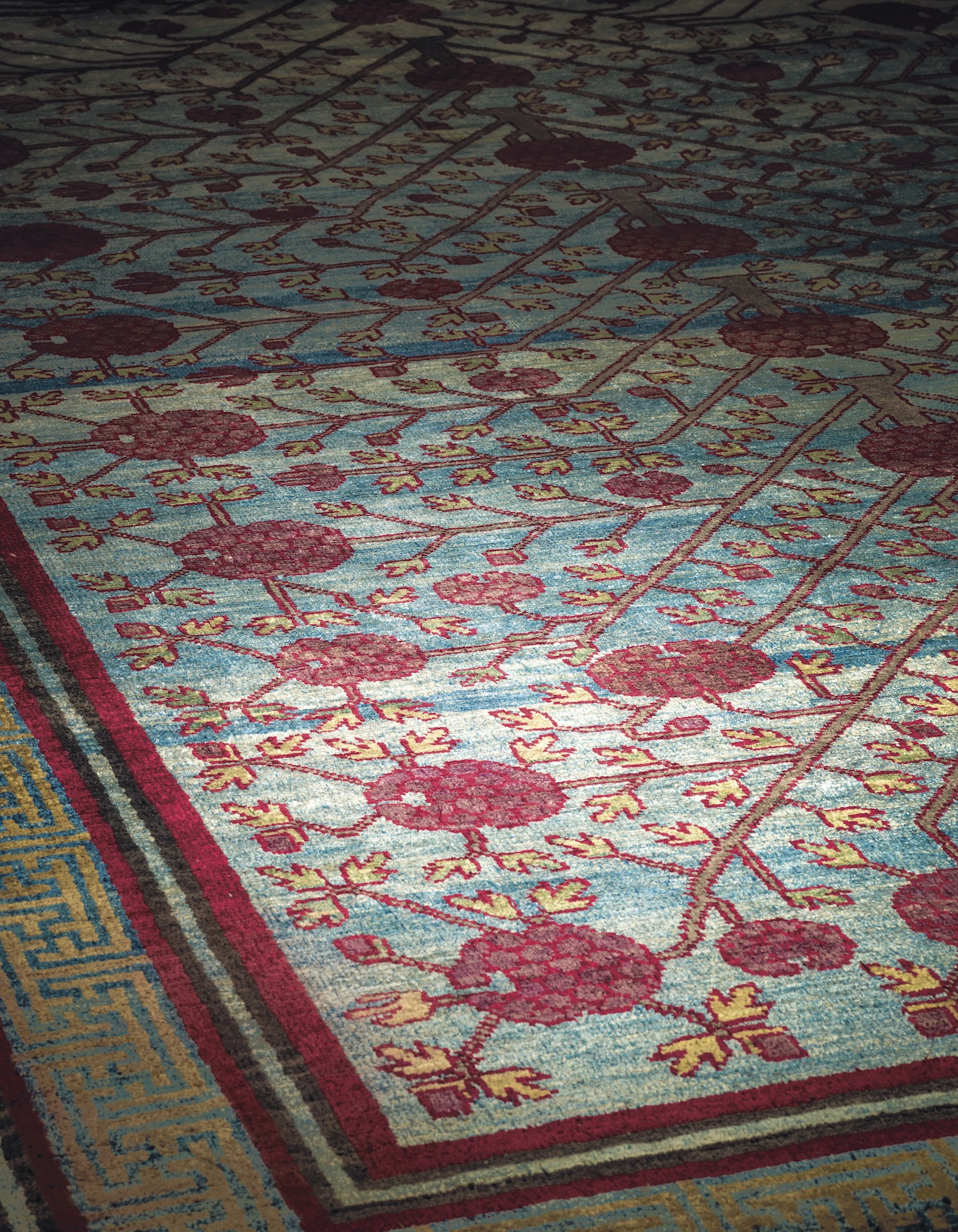 A SILK YARKAND CARPET, 11ft.8in. x 5ft.1in. (359cm. x 154cm.) £50,000-70,000
