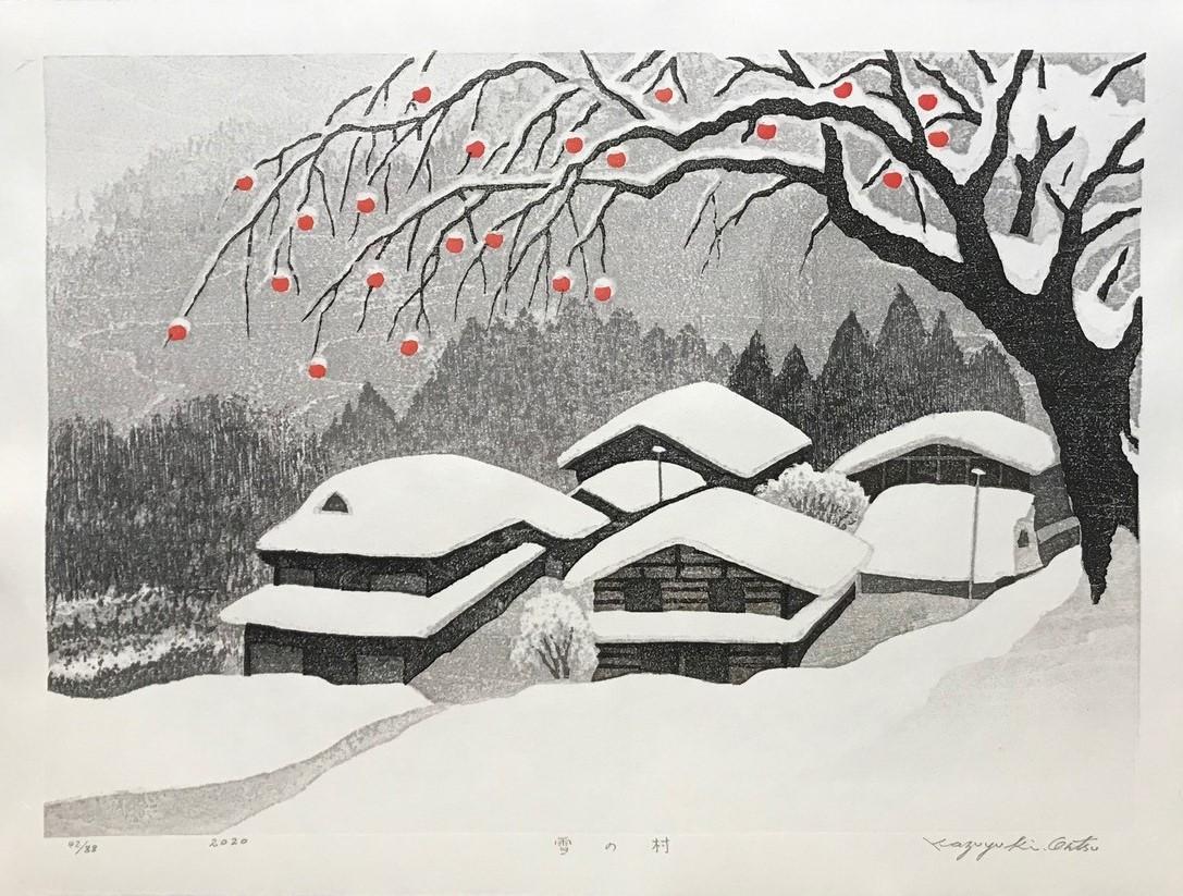 "Kazuyuki Ohtsu - ""Village in Snow"" 2020 Woodblock on washi paper 43 x 58 cm paper"
