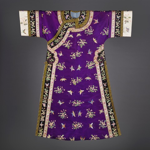 An embroidered purple silk informal costume, Chinese, Guangxu period, 1875-1908 , Length: 135 cms