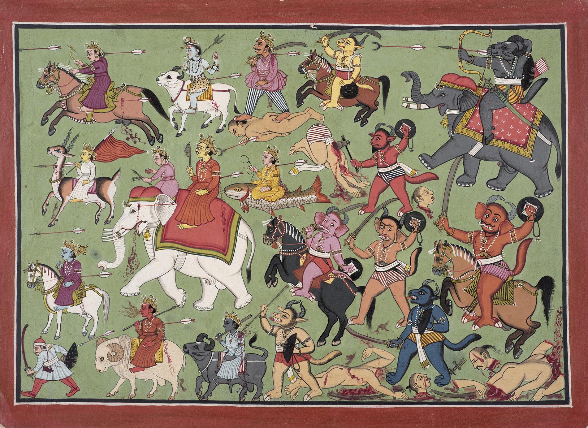 AN ILLUSTRATION TO A MARKENDEYA PURANA SERIES Mandi, India Tempera on paper Circa 1780