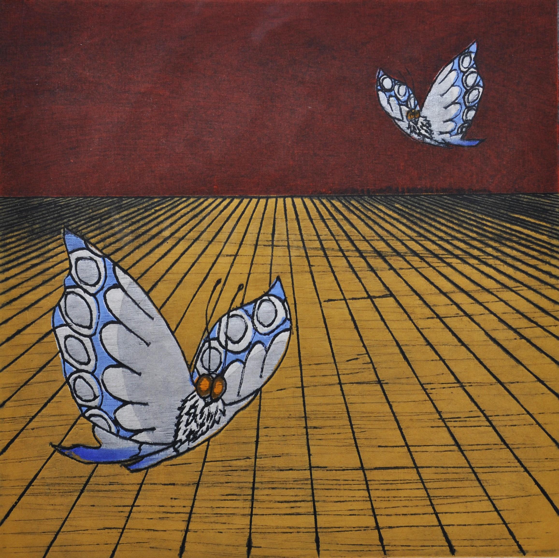 """Nana Shiomi - """"Mitate No. 32 - Butterflies"""" - 2000, Woodcut, Ed of 10, Sheet size 46 x 46 cm"""