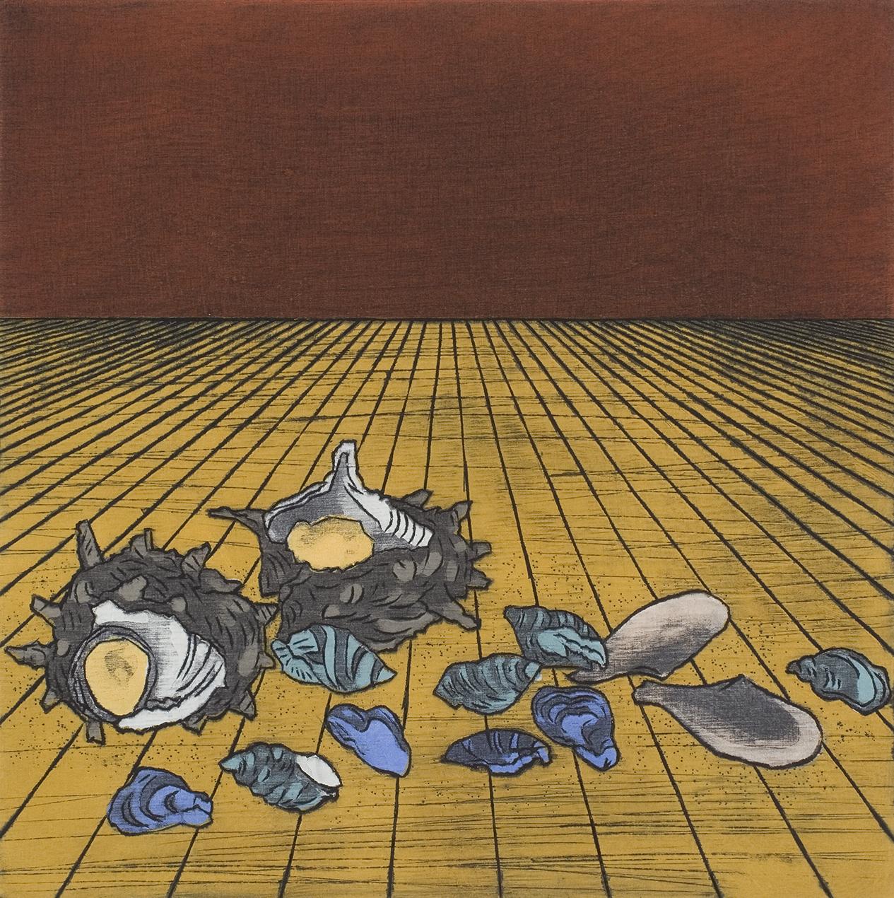 """Nana Shiomi - """"Mitate No.30 - Shells"""" - 2000, Woodcut, Ed of 10, Sheet size 46 x 46 cm"""
