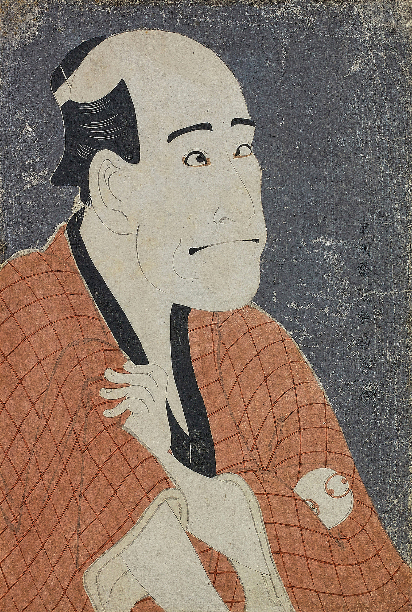 TÔSHÛSAI SHARAKU (ACTIVE 1794–1795) ACTOR ARASHI RYÛZÔ II AS THE MONEYLENDER ISHIBE KINKICHI, EDO PERIOD, LATE 18TH CENTURY, woodblock print (okubi-e): ink, colour and mica on paper, signed Tôshûsai Sharaku ga, published by Tsutaya Jûzaburô (Kôshodô), 1794, with a collector's seal TSN (Theodor Scheiwe) Vertical ôban: 36.5 x 24.5 cm., 14 3/8 x 9 5/8 in.
