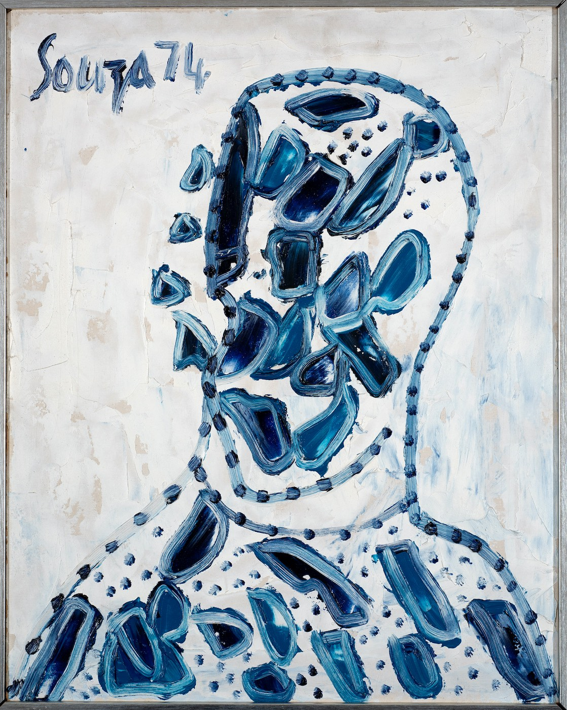 FRANCIS NEWTON SOUZA (1924-2002) Volvox Head, 1974 Oil on board Signed and dated 'Souza 74' upper left, the reverse inscribed 'FN Souza, Volvox Head - 1974 oil, 20 x 15' 50.8 x 40.6 cm 20 x 16 in PROVENANCE Private UK collection; Grosvenor Gallery, London EXHIBITIONS F.N. Souza, Saffronart and Grosvenor Gallery, New York, 16 September - 15 October 2008, No. 37, (illustrated in the catalogue p.93 and 119) South Asian Modern Art 2020, Grosvenor Gallery, London, 23 July - 14 August 2020 (illustrated exh. cat. pg. 29)
