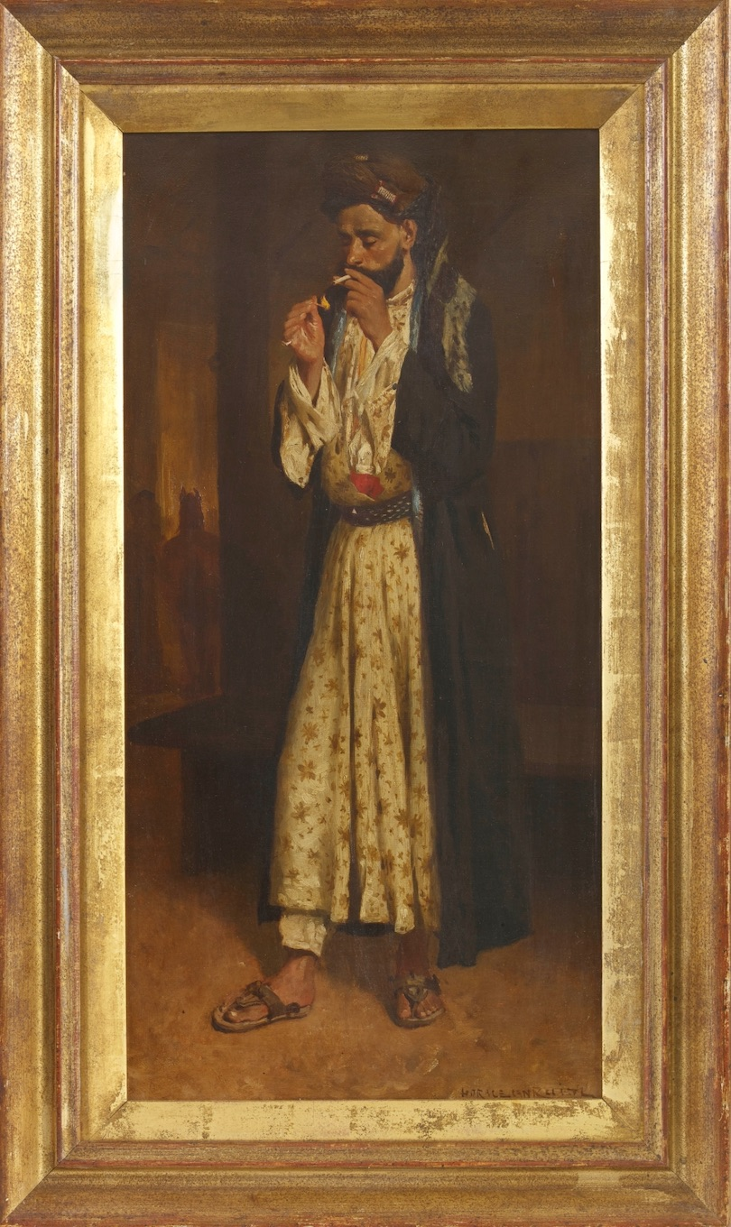 HORACE VAN RUITH (1839-1923) Smoking Figure, c.1880 Oil on canvas Signed 'HORACE VAN RUITH' lower right, letter from Sir Merton Russell-Cotes pasted on the reverse 56 x 30 cm 22 1/8 x 11 3/4 in PROVENANCE Sir Merton Russell-Cotes (1835-1921), Bournemouth, UK; acquired from the studio of the artist; By descent to his son Herbert Merton; Private German collection; Private Swiss collection; Grosvenor Gallery, London
