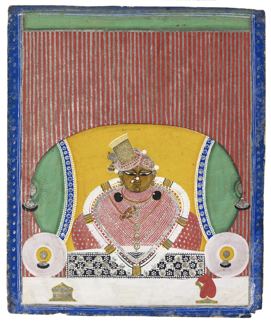 The svarup Navnitapriyaji Nathdwara, Rajasthan, India, 19th century Opaque watercolor and gold on paper. Height: 31 cm, 12 ¼ in Width: 26 cm, 10 ¼ in