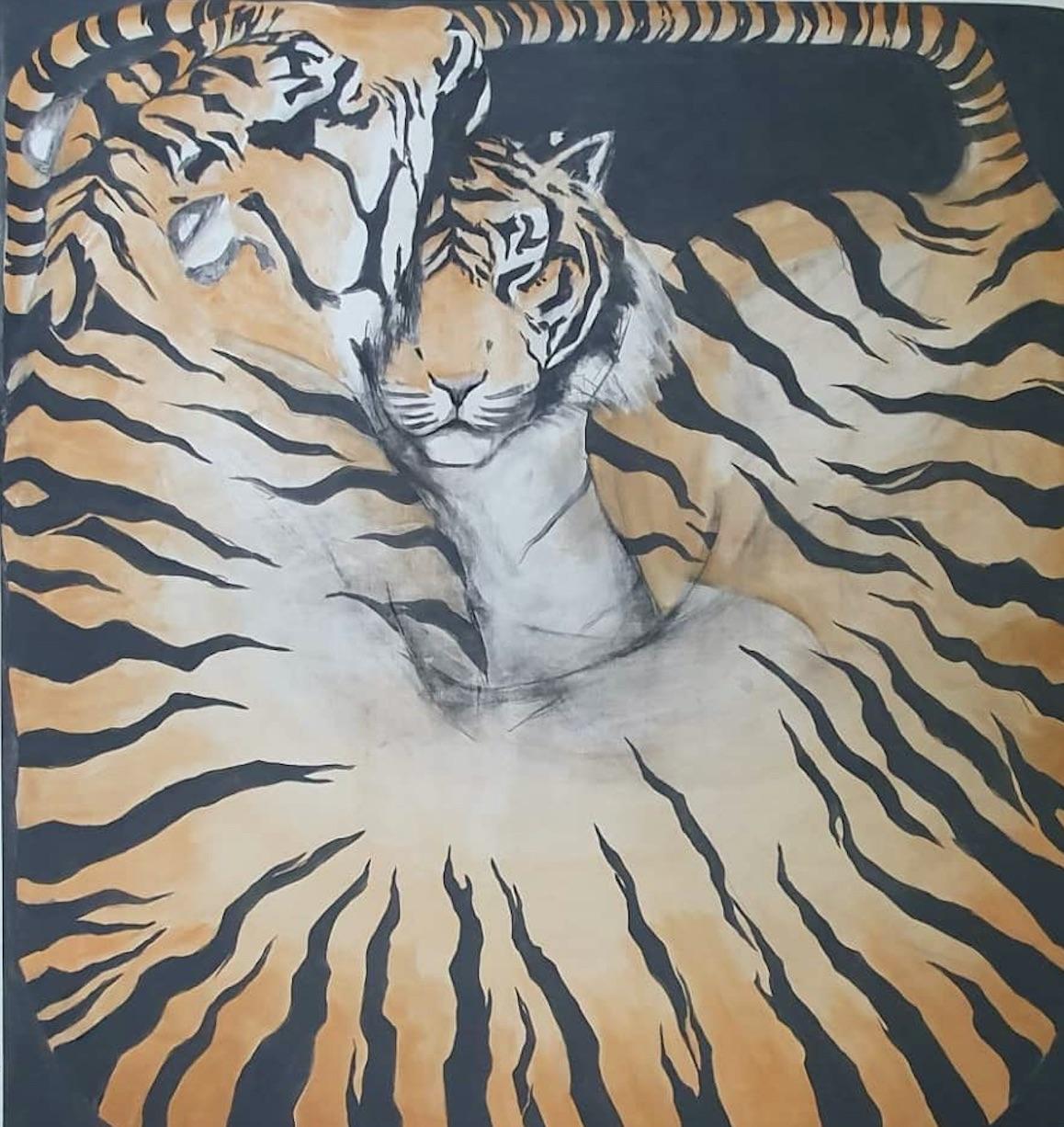 Zimbiri (b. 1991) Boxed Love, 2020 Saa-tshen on Rhay-shing (Earth paint on canvas) Signed 176.5 x 165.7 cm 69 1/2 x 65 1/4 in