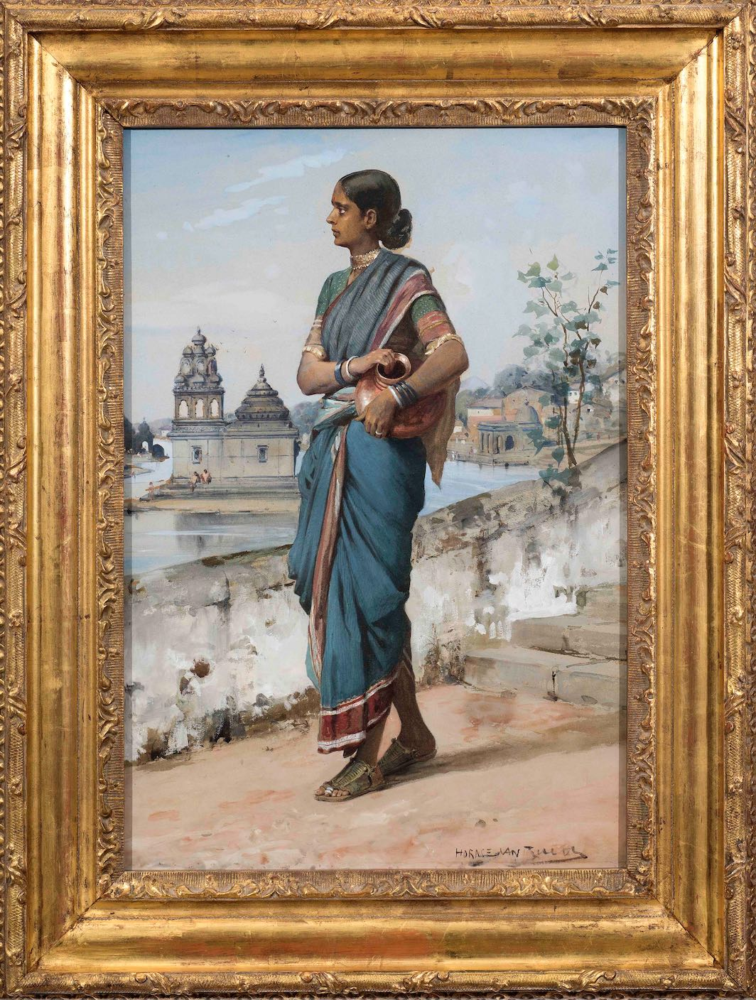HORACE VAN RUITH (1839-1923) Untitled (Village Girl), c.1880 Gouache on paper Signed lower right 'Horace van Ruith' 53.1 x 37 cm 20 7/8 x 14 5/8 in PROVENANCE Private German collection
