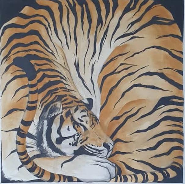 Zimbiri (b. 1991) Boxed 8, 2020 Saa-tshen on Rhay-shing (Earth paint on canvas) Signed 76.5 x 76 cm 30 1/8 x 29 7/8 in