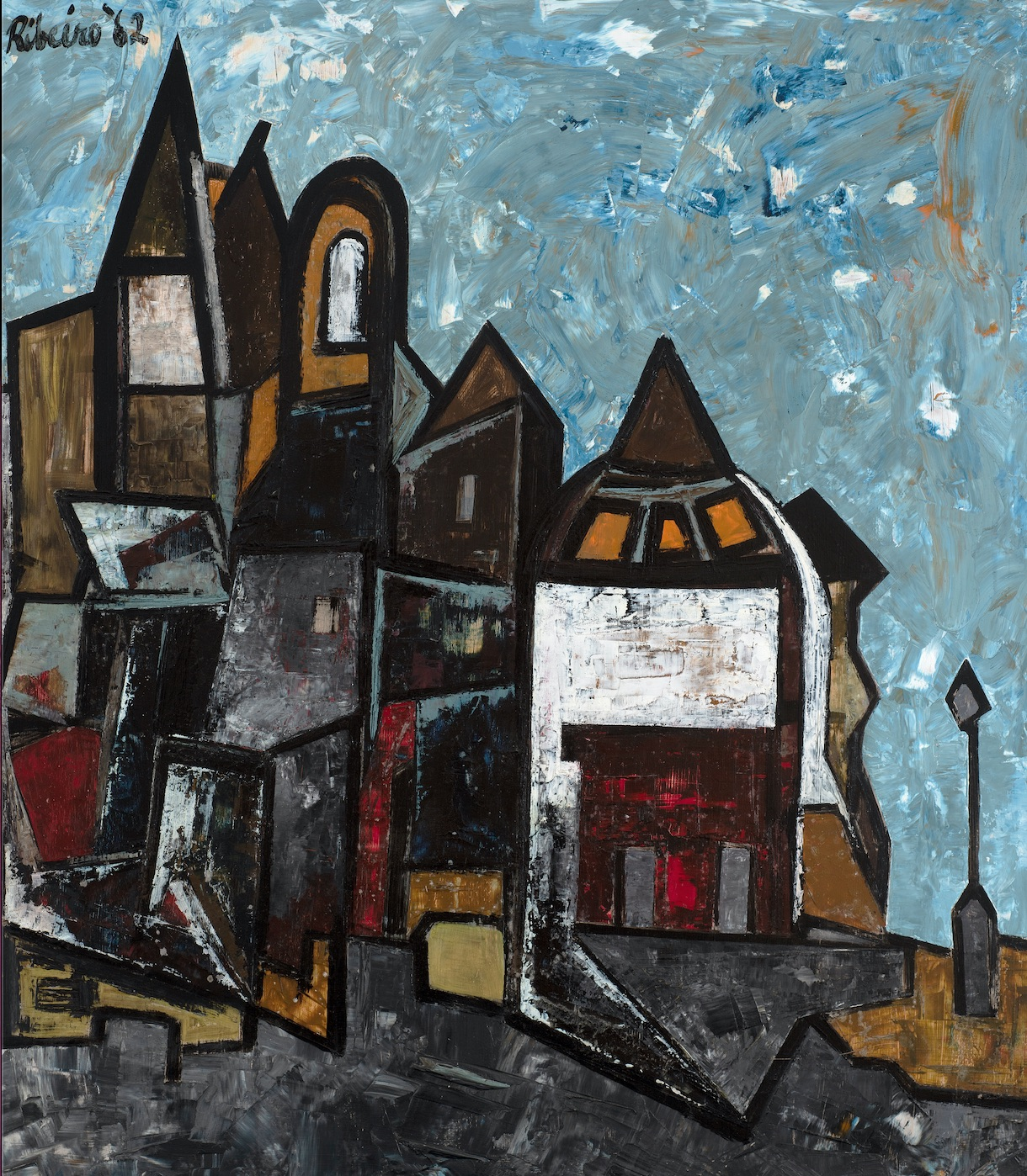 LANCELOT RIBEIRO (1933-2011) Strange Town, 1962 Oil on board Signed and dated upper left 91.5 x 80 cm 36 1/8 x 31 1/2 in PROVENANCE Purchased from Piccadilly Gallery, London 25.3.1963 by the Leicester Education Committee for £25.0.0 (original invoice on file) Golding, Young and Mawer, 150th Anniversary Auction, 4 September 2014 Acquired from the above by Roderick Burton, Caistor, Lincs. Hemswell Antiques Centre Grosvenor Gallery, acquired from the above