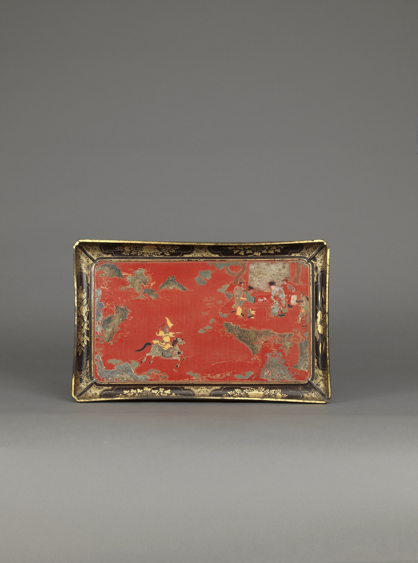 A DATED BASKETWORK AND POLYCHROME LACQUER TRAY  Ming dynasty, Wanli mark and period, dated to yimao year, 1615 Length: 45.6 cm, 18 inches  Width 28.8 cm, 11⅜ inches