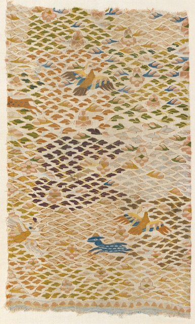 A white silk kesi panel with birds, deer and leaves, Chinese or East Central Asia, 12th/13th century, Measurements: 55 cms x 33 cms