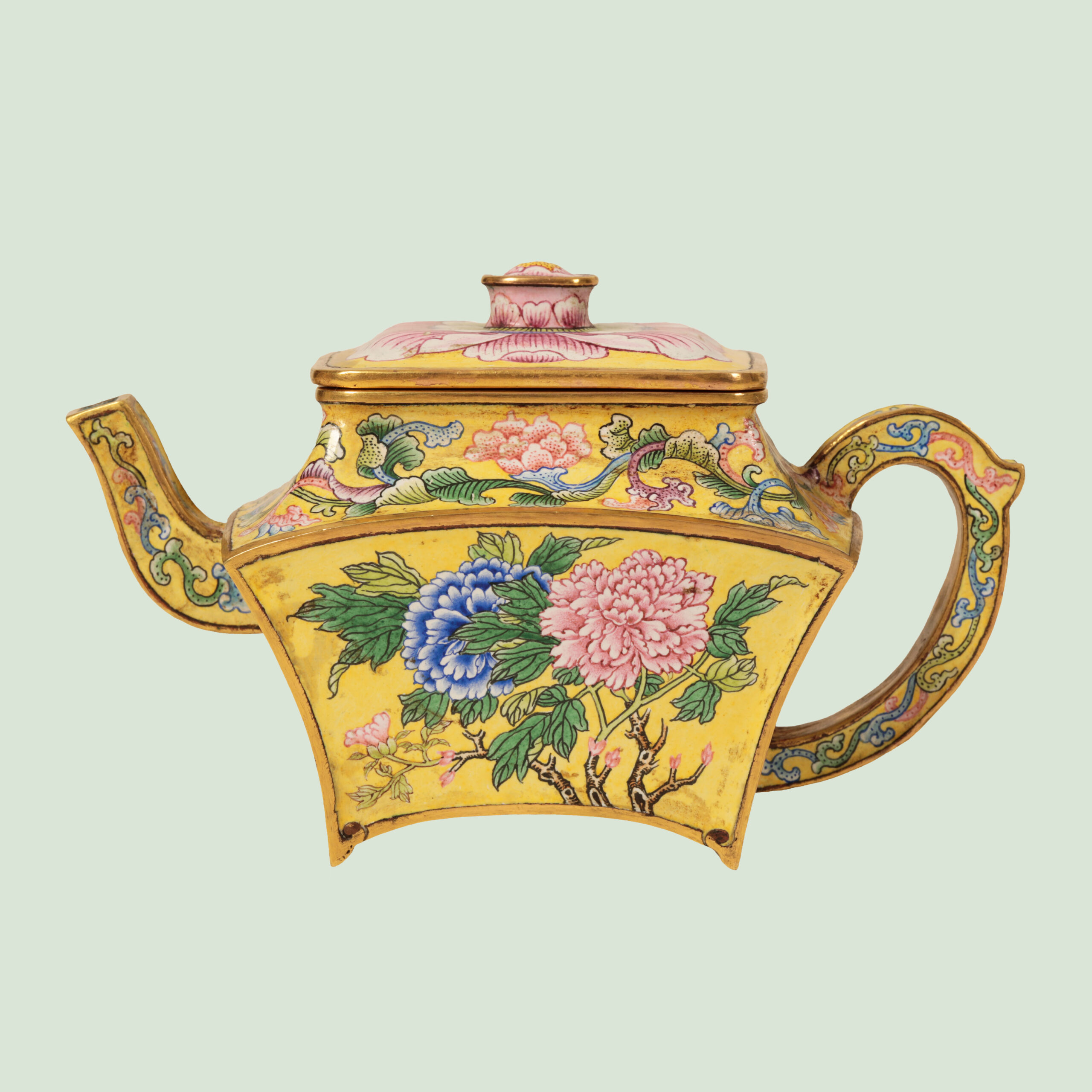 DUKE'S A Fine Beijing Enamel, Yellow Ground Wine Pot Yellow ground wine pot, with a Qianlong four character mark, purchased in Paris in the 1960's and since then in a private West Country collection