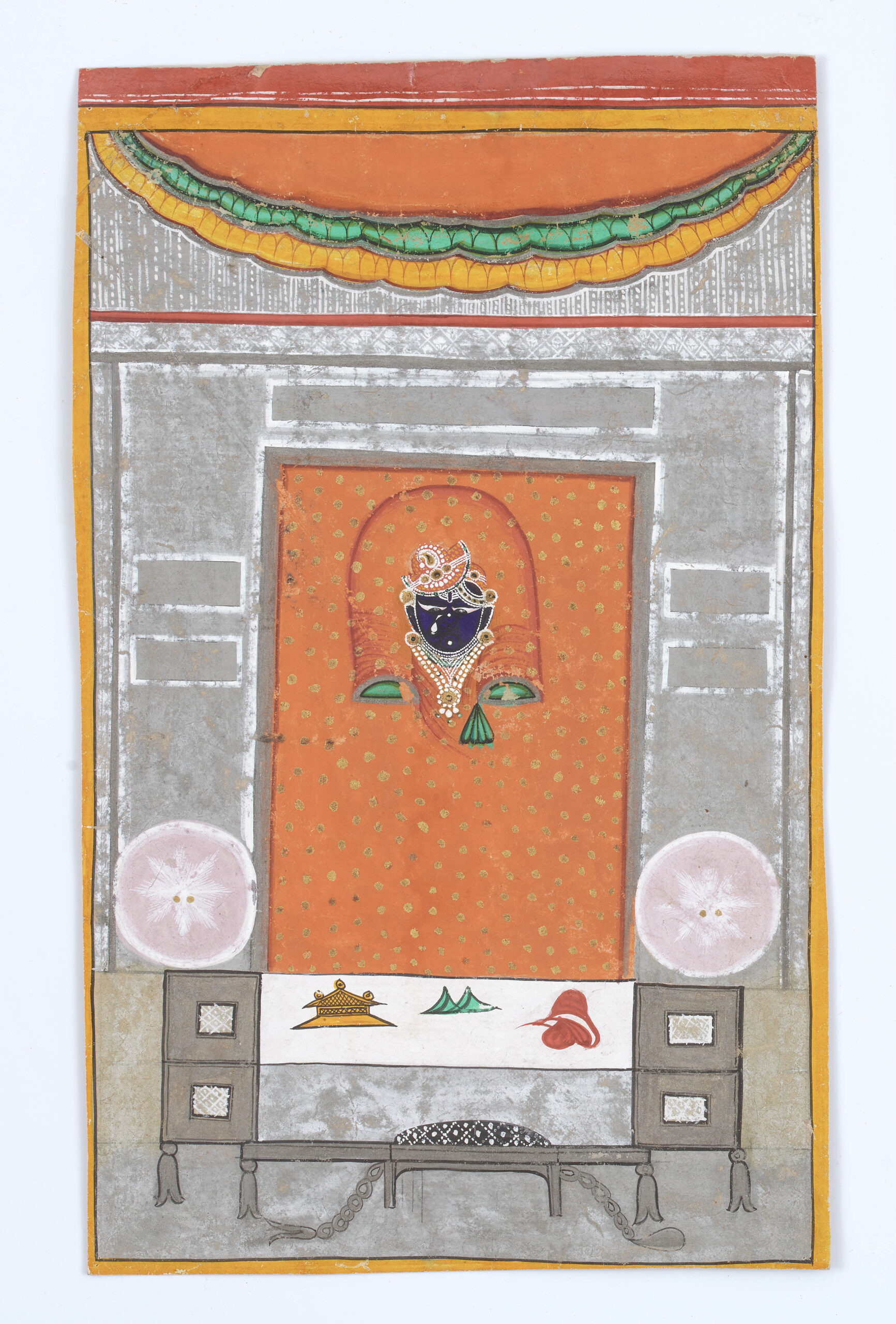 Winter shringara of Shrinathji Nathdwara, Rajasthan, India, Mid-late 19th century Opaque watercolor and gold on paper. Height: 28.5 cm, 11 ¼ in Width: 17.5 cm, 7 in