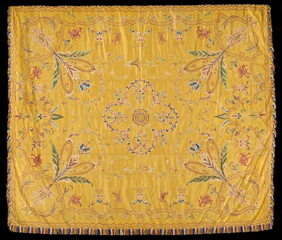 An embroidered yellow silk export bed cover, Chinese, 18th century, Measurements, excluding fringe: 216 x 256.5 cms