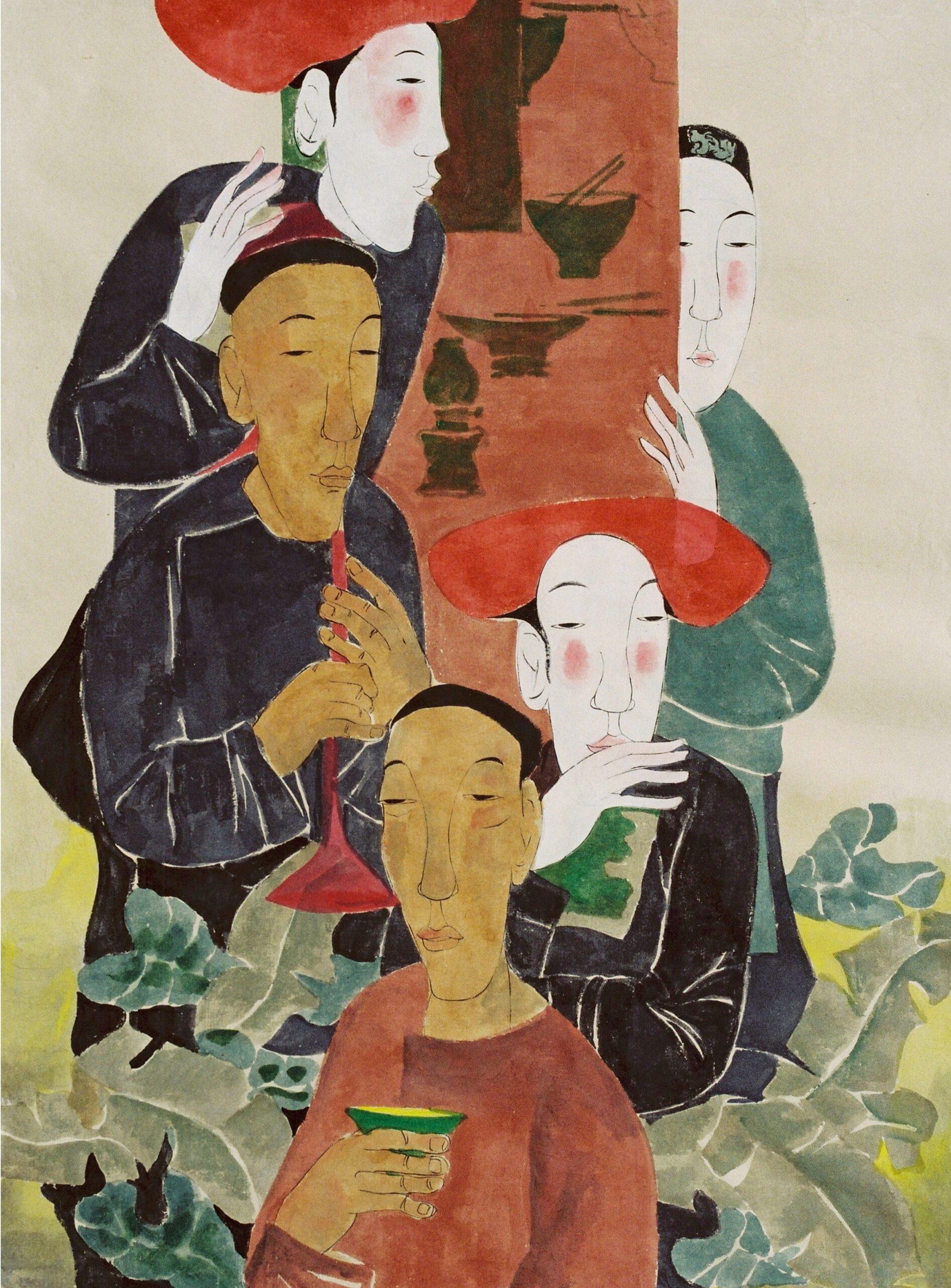 Elixir and Incense by Vu Thu Hien, watercolour on handmade paper, 2008, 110 x 80 cm