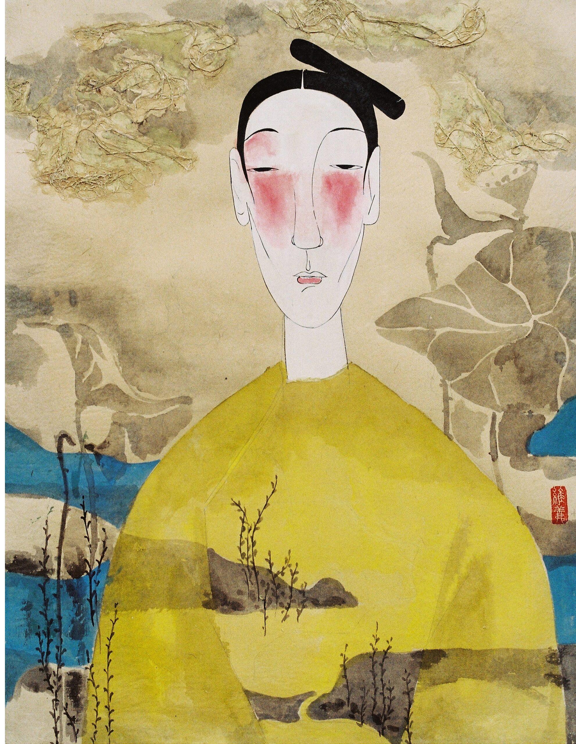 Gossamer and Gold by Vu Thu Hien, watercolour on handmade paper, 2009, 80 x 60 cm