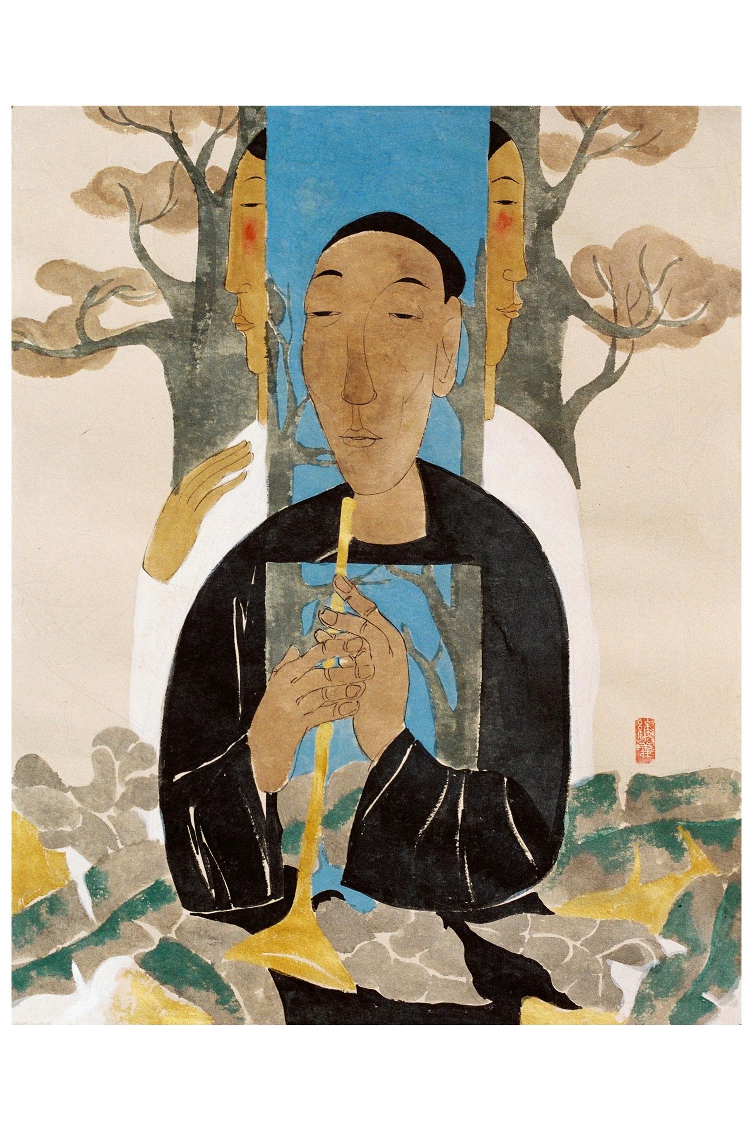 Timeless Melody by Vu Thu Hien, watercolour on handmade paper, 2007, 80 x 60 cm