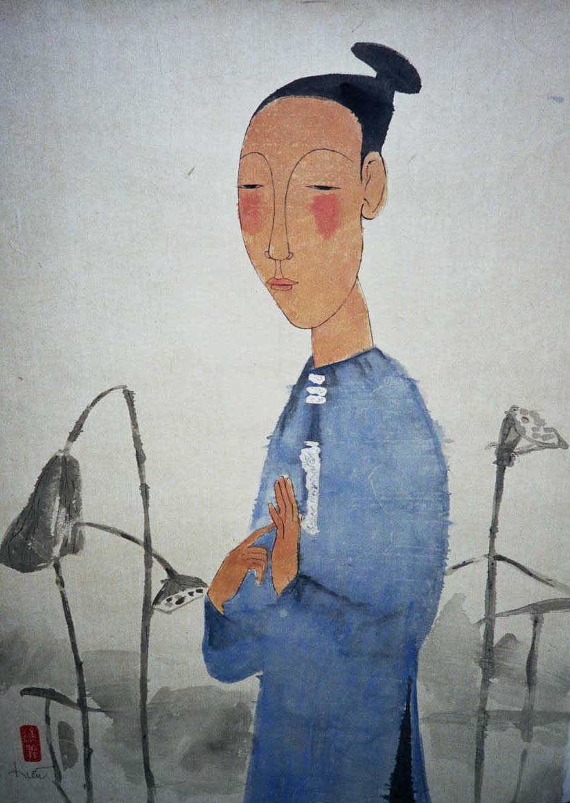 Woman and Lotus by Vu Thu Hien, watercolour on handmade paper, 2003, 80 x 50 cm