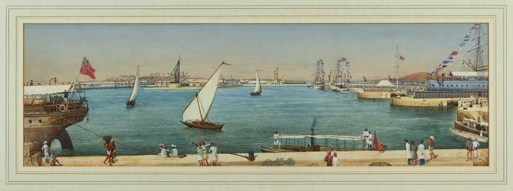 ANGLO INDIAN SCHOOL Victoria Docks, Bombay, 19th century Watercolour on paper 24.5 x 79.5 cm 9 5/8 x 31 1/4 in The view depicted here is of the Victoria and Prince's Docks in Bombay (Mumbai) in the early 19th century. In the scene there are Parsees wearing 'phetas'on the jetty. Parsees were actively involved with the docks in Bombay, as well as the trade with China. There are numerous Maharashtrians with typical Peshwa style pagdi along the quay. The general labourers are dressed in typical Marathi style. Cross Island can be seen in the background. The date is suggested as steam has not yet replaced the sailing ships. The swing bridge to the right of the painting was positioned at the entrance to the docks, and was in use as late as the 1970s. There appears to be a regatta or celebration of some description taking place to the right of the scene, with troops parading and the ships flying coloured pennants. A highly detailed scene, a particularly charming detail is the group of figures standing at the right hand edge, peering to get a better look at what's going on. The work was clearly painted by a talented artist with an eye for detail.