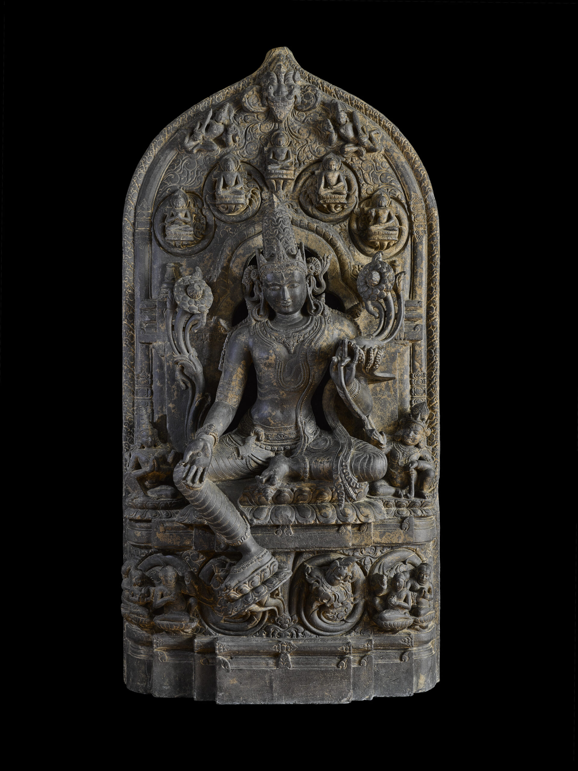 Early 12th century stone stele from eastern India depicting Khasarpana Lokeshvara