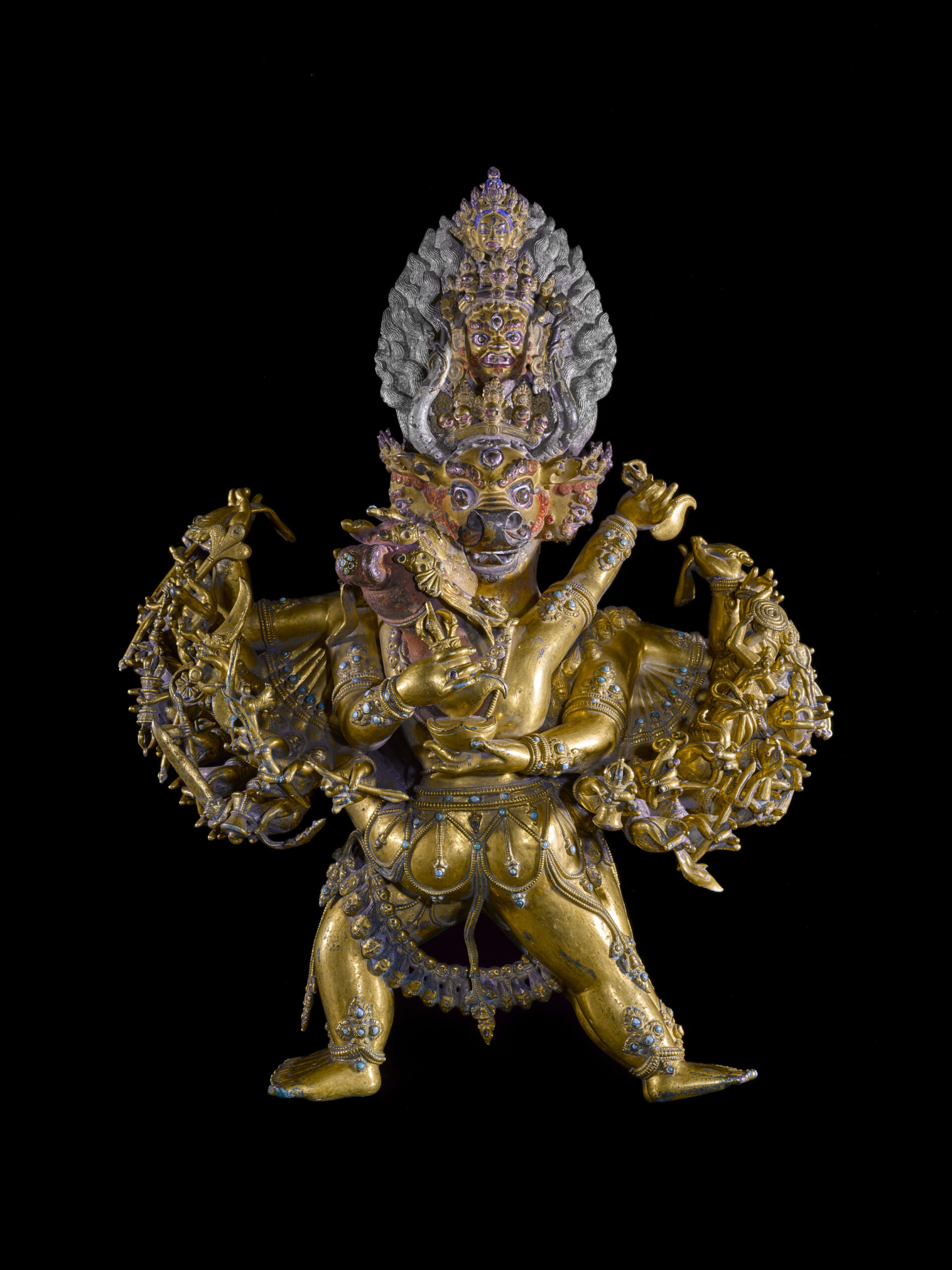 A highly energetic Tibetan sculpture of Vajra Bhairava and his shakti, Vajra Vetali dates from the late 14th/early 15th century