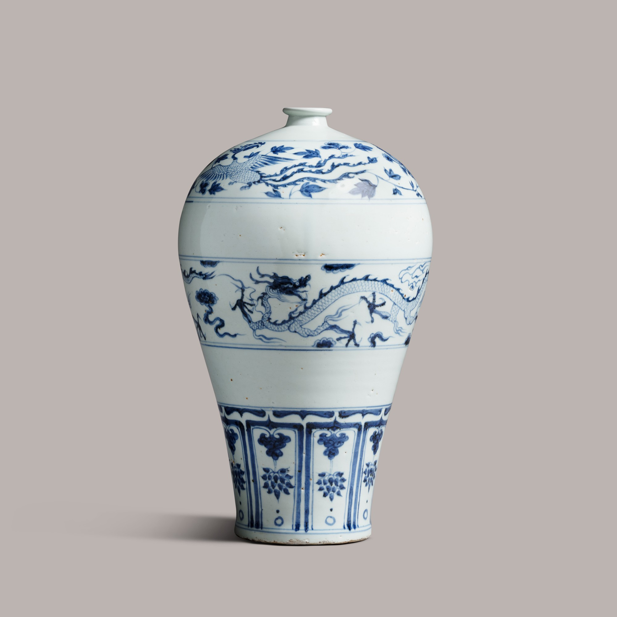 A rare blue and white 'dragon and phoenix' meiping Yuan Dynaysty   元 青花龍鳳紋梅瓶