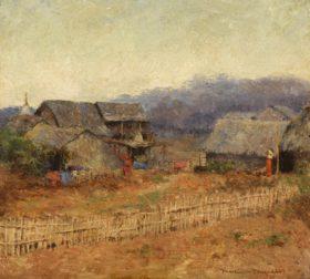 Mortimer Menpes (1855-1938), Burmese Village, Oil on board, Signed lower right, 15.9 x 17.8 cm