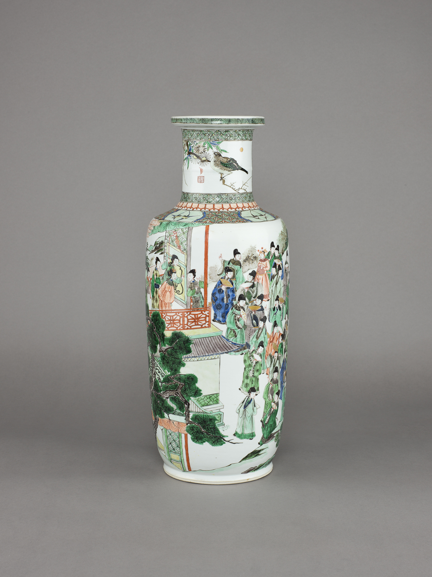 no. 6 - Chinese porcelain famille verte, wucai rouleau vase painted with a scene from Cailou Ji (The Bunted Loft). 18 ½ inches, 47 cm high. Kangxi, 1662-1722.