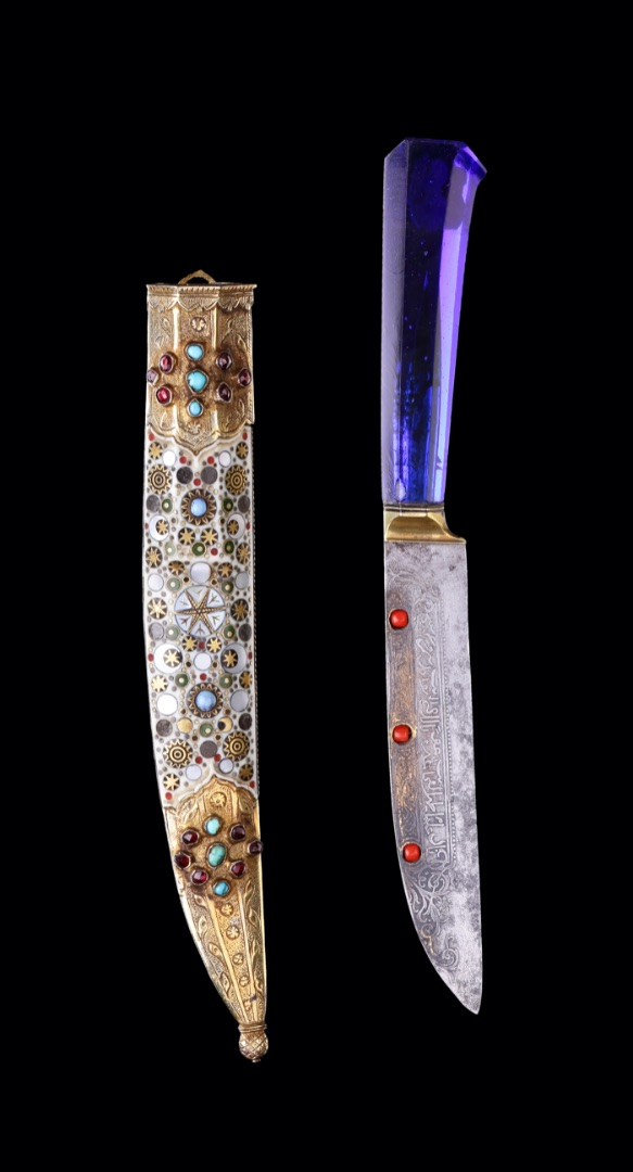 Ottoman knife, Turkey (Ottoman Empire), 18th - 19th Century, Glass, steel, copper alloy, coral. turqouise, gems, ivory, mother of pearl, wood