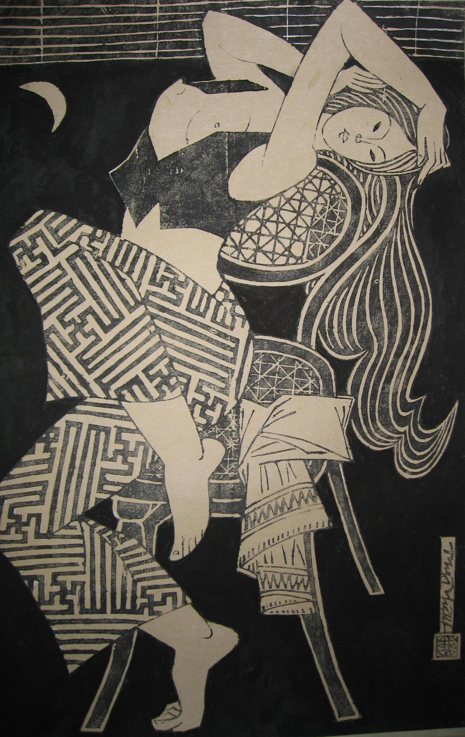 At the Threshold by Phung Pham, limited edition woodblock print, 2002, 68 x 45 cm